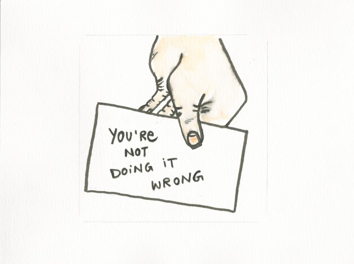 A handdrawn image of a hand holding a business cards marked with the words